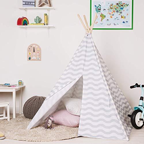 boppi® Spielzelt für Draußen und Drinnen. Tragbares Indianerzelt für Kinder aus Holz und Zelttuch