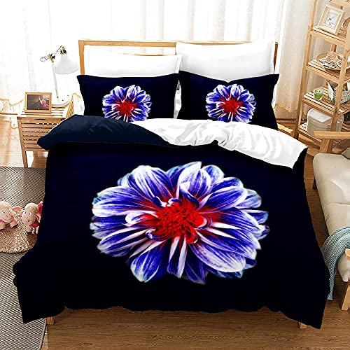Bedclothes-Blanket Funda nórdica Funda de Colcha,3D Planta Tridimensional Floral impresión Digital de Tres Piezas de Cama-1_150 * 200 cm