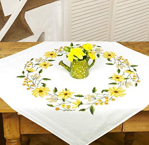 Kamaca - Kit de punto de cruz para mantel, diseño luz del sol con preciosas flores amarillas (algodón, mantel de 80 x 80 cm)