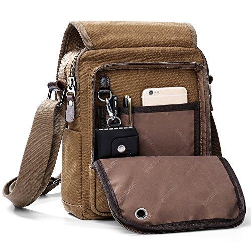 XINCADA Mens Bag Messenger Bag Canvas Shoulder Bags Travel Bag Man Purse Crossbody Bags