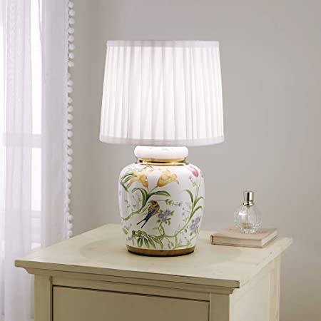 Traditional Ceramic Floral Table Lamp with White Pleated Shade 44cm Table Lamp Floral and Birds Design