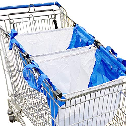 Handy Sandy 3 pcs Reusable Grab Grocery Shopping Tote, Shopping METAL Cart Bags, and Grocery Organizer (Blue/White) (Shopping Cart Bags As Seen On Tv)