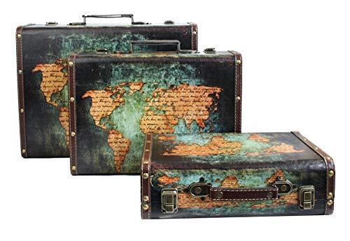 Emartbuy Conjunto de 3 Cajas de Maletas de Equipaje de Almacenamiento Decorativas Retro Impresas con Mango de Piel Sintética y Cierres Metálicos de Bloqueo - Mapa del Mundo