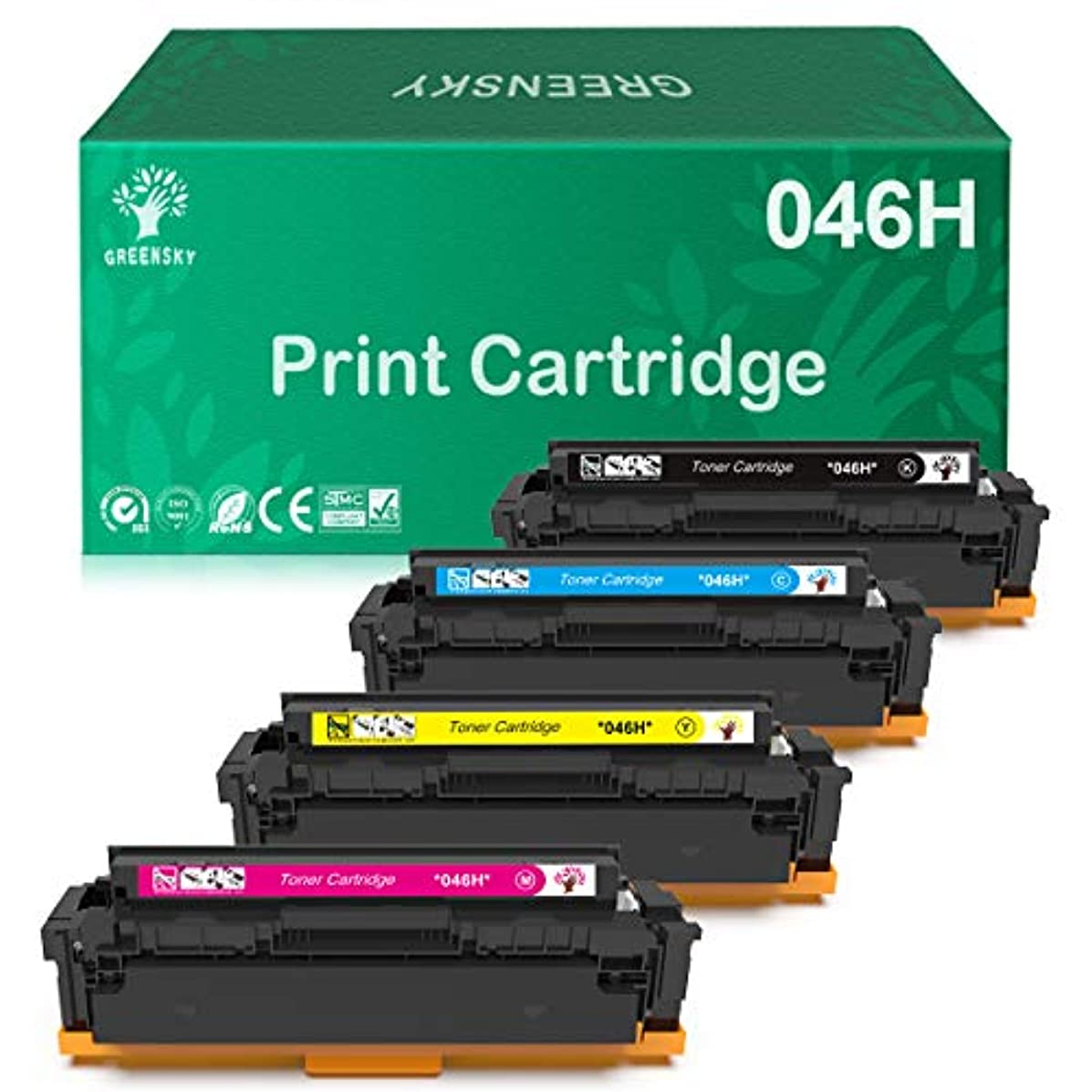 GREENSKY Compatible Toner Cartridge Replacment for Canon 046 046H CRG 046 046H for Canon Color ImageCLASS MF735Cdw LBP654Cdw MF731Cdw MF733Cdw Laser Printer (4 Pack)