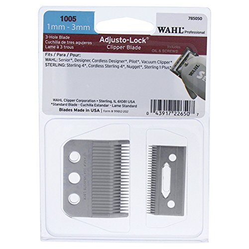 Wahl Professional 3 Hole Adjusto-Lock (1mm - 3mm) Clipper Blade for the Designers, Cordless Designer, Senior, Vacuum, Pilot, some Sterling clippers for Professional Barbers and Stylists - Model 1005