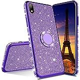 IMEIKONST Xiaomi Redmi 7A Hülle Ultra-Slim Glitzer Sparkly Bling Glänzend TPU Rotating Ring Ständer Silicon TPU Shockproof Schutzhülle Handyhülle für Xiaomi Redmi 7A Bling Purple KDL