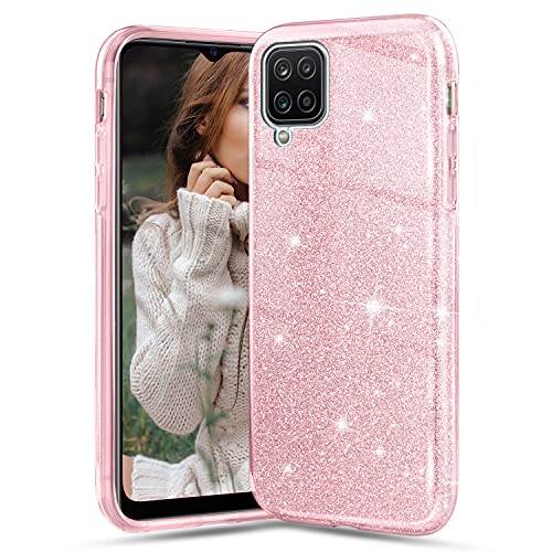 Glitter Cover per Samsung Galaxy A12/M12, Crystal Glitter Ultra Sottile Morbido TPU Silicone Trasparente Case Colorate Brillantini Bling Protettiva Antiurto Hybrid Semi Rigida Custodia, Rosa