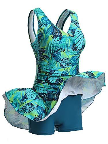 Mujer Bañador con Falda Traje de Baño de Una Pieza de Talla Grande Impresión Elegante Sexy Push Up Monokini Verde XXL