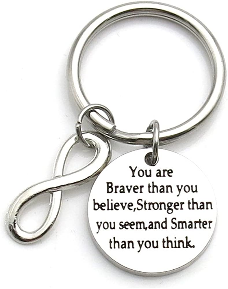 You Are Braver Than You Believe Stronger Than You Seem Inspirational Keychain