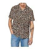 AVANZADA Men's Short Sleeve Shirts 3D Leopard Print Button Down Casual Tropical Shirts for Men Beach Hawaiian Aloha Shirt (print1-XXXL)