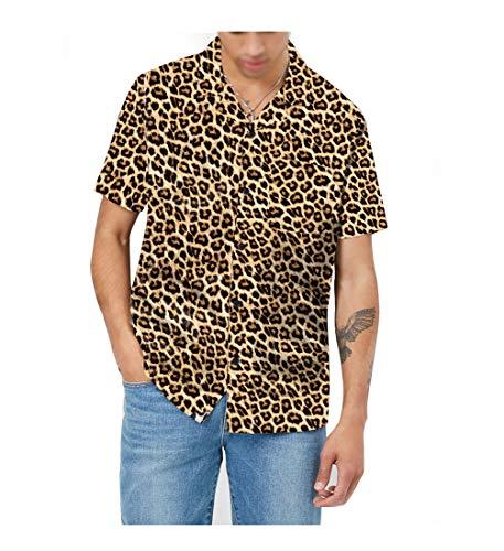AVANZADA 남성용 짧은 소매 셔츠 3D 표범 인쇄 버튼 남성용 캐주얼 열대 셔츠 하와이 어 알로하 셔츠