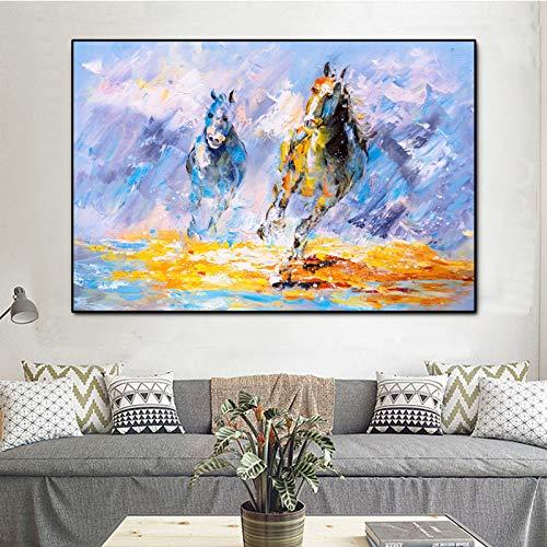 YuanMinglu Abstrakte Moderne Messer ölgemälde Poster Tier Pferderennen leinwand Wand Wohnzimmer Dekoration rahmenlose malerei 40x60 cm