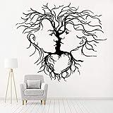 wZUN Pegatina de Pared de Vinilo Amor Pareja árbol Abstracto decoración de Dormitorio romántico Armario cabecera Pegatina de Pared autoadhesiva 42X36 cm