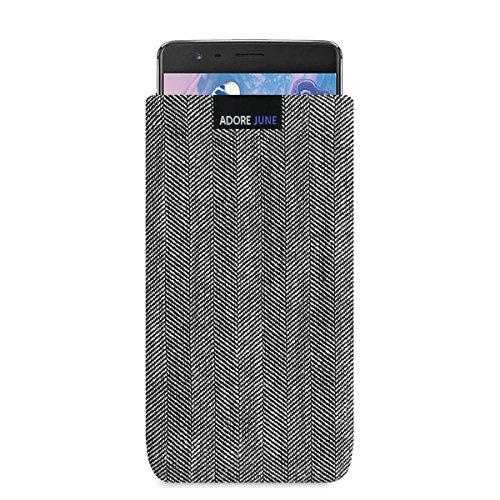 Adore June Business Tasche für OnePlus 3 / OnePlus 3T Handytasche aus charakteristischem Fischgrat Stoff - Grau/Schwarz | Schutztasche Zubehör mit Bildschirm Reinigungs-Effekt | Made in Europe