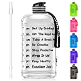 Aomais Gallon Water Bottle with Motivational Time Marker, Large Water Jug 128 oz, Leak-Proof, Wide Mouth, BPA Free Water Bottles for Sports Gym Fitness Work (1 Gallon, Transparent)