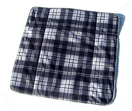 MEX-LINE Inkontinenz Stuhlauflage Design: Lincoln (Karo Anthrazit), wasserdichte Sitzauflage/Sitzkissen/Nässeschutz, waschbar und wiederverwendbar, ca. 45 x 45 cm