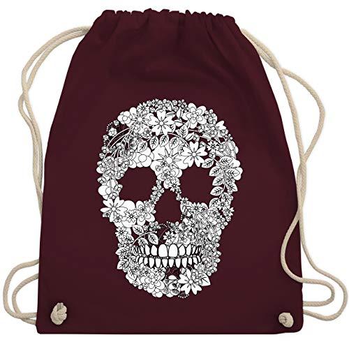 Rockabilly - Totenkopf Blumen Skull Flowers - Unisize - Bordeauxrot - bag skull - WM110 - Turnbeutel und Stoffbeutel aus Baumwolle