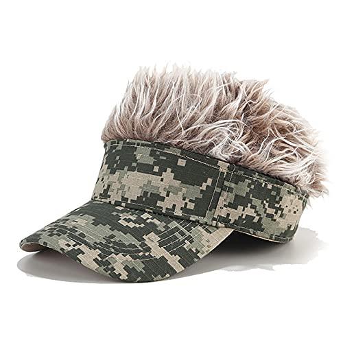 Men's Novelty Sun Cap with Wig Spiked Hairs Adjustable Visor Baseball Golf Hats