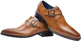 GYUANLAI Men's Leather Shoes Formal Business Dress Shoes Breathable Non-slip Low Cut single buckle Oxford Sole Leather Shoes