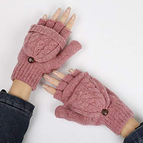 JFASJ Dicke Frauen gestrickte Kabel Fingerlose Handschuhe solide Winter Cabrio Touchscreen halbe Fingerhandschuhe mit Handwärmer Kappe