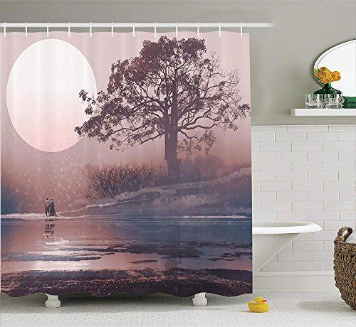 Nyngei Fantasy House Decor Collection Liebespaar am Horizont mit Vollmond und majestätischem Baum...