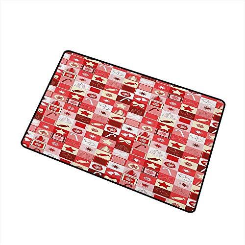 Lindsay Gosse Universal-Fußmatte Xmas Icons Candy Cones Sterne Bänder Hand Glocken Kiefern Ornamente in Kisten Fußmatte Boden Rubinrot Weiß