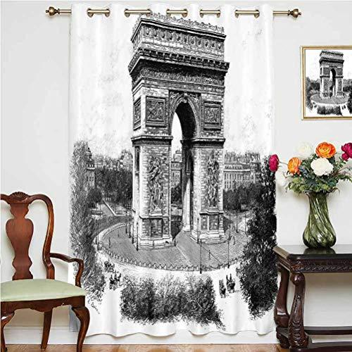 Cortina de ventana vintage con foto antigua de Auguste Vitu Monumento en París, Patrimonio Francés, retro, con respaldo térmico, panel individual de 160 x 213 cm, para puerta de cristal blanco y negro
