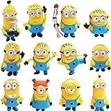 Minions Cake Topper -Miotlsy 12pcs Minions Caricatura Cake Topper Mini Juguetes Baby Shower para Fiesta Niños de Cumpleaños Figuras de Cupcakes Figura de Acción