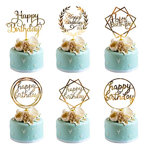 Whaline 6 Pack Happy Birthday Cake Topper Acrylic Cupcake Topper for Various Birthday Cake Decorations, Gold