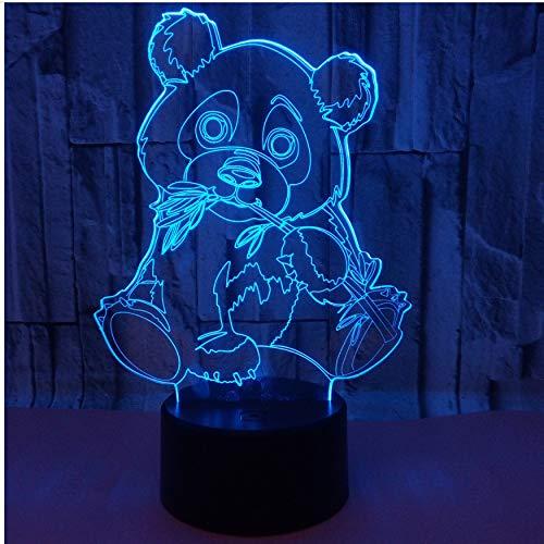 Luz nocturna 3D de color de oso panda con 7 luces nocturnas para notas infantiles, lámpara de mesa USB, lámpara de noche para bebés, luz nocturna, gotas de barco, luz USB