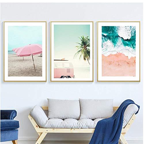 IGZAKER Ocean Wall Leinwand Malerei Zusammenfassung Moderate Drucke Nordic Scandinavian Home Decor Poster und Drucke Strandbilder Art-40x60cmx3pcs (kein Rahmen)