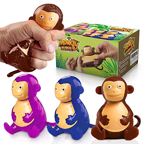 YoYa Toys Beadeez Monkey Squishy Stress Relief Balls (Set of 3) | Animal Figurines Anxiety Relief Squeezing for Boys, Girls or Adults | Funny Fidget Sensory Toy Filled with Water Beads