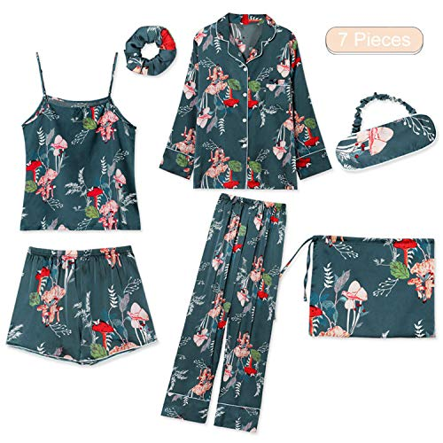 7 Piece Striped Women Pajama Set Silk Pink Full Shorts...