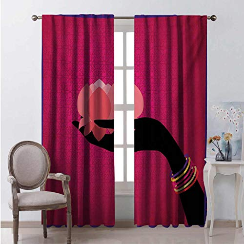 Toopeek Lotus Wear-resistant color curtain Silhouette of Woman Hand with Bangles Holding a Japanese Flower Asian Folklore Design Waterproof fabric W84 x L108 Inch Multicolor