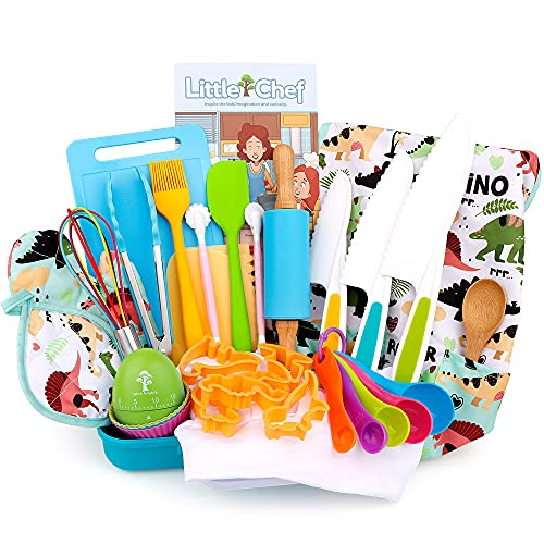 Veitch fairytales Kids Cooking and Baking Supplies Set 36 Pcs Includes Dinosaur Apron Hat Mitt and Dinosaur Egg Shaped Timer Dress Up Chef Costume Role Play Gifts for 3 4 5 6 7 8 Year Old Girls Boys