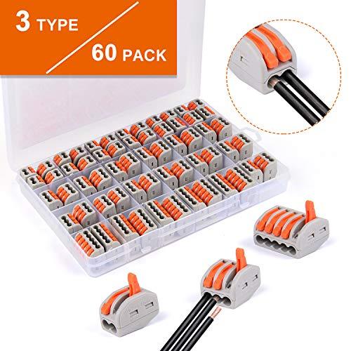 Bloques conectores eléctricos, 60pcs conectores de cable compacto Vibeey con palanca de empuje con resorte, 20pcs abrazadera de 2 vías, 30pcs abrazadera de 3 vías, 10pcs abrazadera de 5 vías