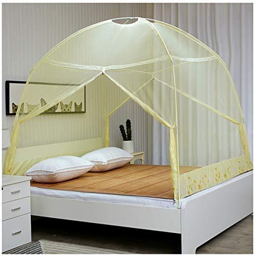 Vliegengaas, volledig gesloten, vrijstaand, vliegengaas met koepel, muggennet op reis, dubbele bodem, 2 zijdelingse openingen met ritssluiting, bidirectioneel voor een tweepersoonsbed van 180 x 200 cm