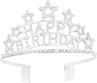 Tiara Lurrose Happy Birthday Crown com strass para festa de aniversário