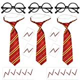 21Pcs Wizard Striped Tie Set for Harry Potter Fans Novelty Wizard Glasses Bolt Scar Tattoo Wizard Dress Up Cosplay Costume Accessories for Kids Boys Halloween Christmas Birthday Party and Daily