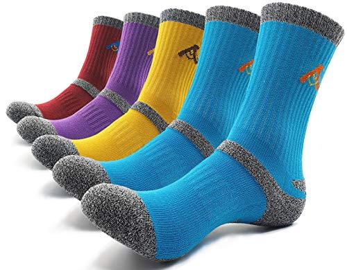 PEACE OF FOOT Hiking Socks boot socks For Womens 5 Pairs Multi Outdoor Sports Trekking Climbing Camping working Crew Socks (jade 2, red 1, purple 1, yellow 1, womens shoe size 8~10(us))