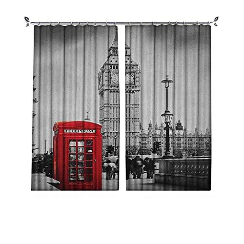 Cortinas de 90% opacas de Londres, famosa cabina telefónica y el Big Ben en Inglaterra Street View Symbols of Town Retro, cortinas plisadas para dormitorio, sala de estar, 200 x 172 cm, rojo y gris