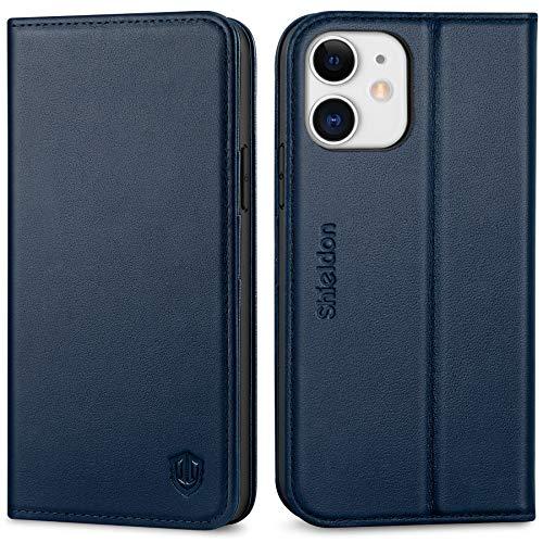 SHIELDON iPhone 12 Pro Hülle, Handyhülle iPhone 12 [100prozent Rindsleder] [Verdichtes TPU] [Kartenfach] [Stand] [Magnet], RFID Stoßfeste Lederhülle Etui Kompatibel für iPhone 12/12 Pro 5G (6,1) Marineblau