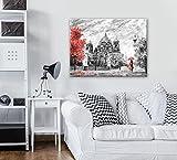 FORWALL - Lienzo Impreso con diseño de Berlín AMF11513_PP Canvas Picture Print Ciudad Malerei Berlín Árbol Silla Mujer Mann Fremde, Lona, Schwarz und Weiss,Rot, O6 (80cm. x 60cm.)