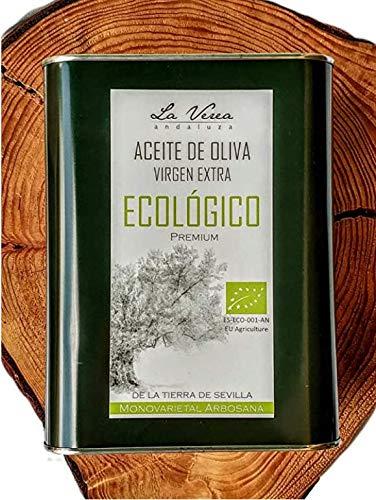 Aceite de oliva virgen extra ECOLÓGICO PREMIUM. 2 Litros . Marca La Verea Andaluza. Proviene de una sola finca, Monovarietal 100% Arbosana.