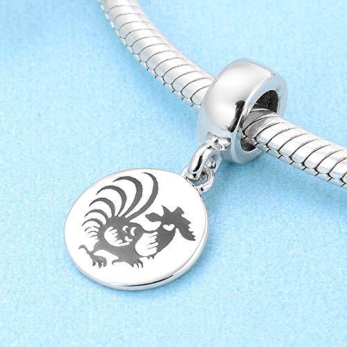 XSZPKL Moda 925 Plata esterlina 12 Zodiaco Gallo Colgantes Cuentas Fit