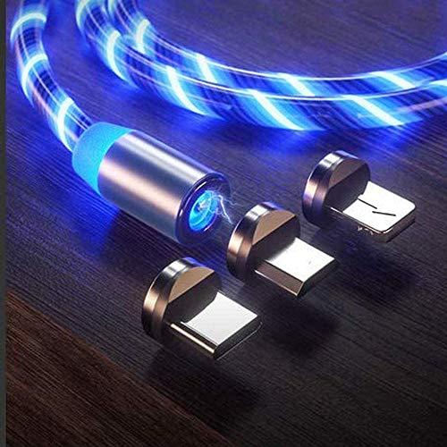 Wcjing Cable de Carga USB magnético LED Brillante 3 en 1, sincronización de Datos de Carga rápida con LED Visible Que Fluye Cable de Carga USB Compatible con Tipo C/Micro USB/i-Product