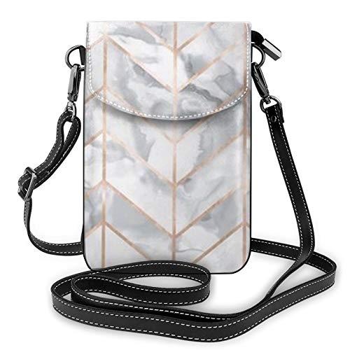 Monedero ligero de piel sintética para teléfono celular, diseño de mármol de oro rosa, pequeñas bolsas cruzadas, bolsa de hombro, bolsa de hombro para mujer, color Negro, talla Talla única
