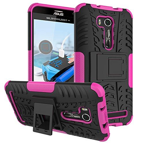 PAIPAIGUAN ASUS Zenfone Go ZB551KL(5.5 Zoll) hülle(Silikon Series) TPU + PC 2-in-1-Double-Layer-idealer Schutz,Stoßfest Handyhülle Drop Resistance Handys Schutz Hülle mit Ständer für-Pink