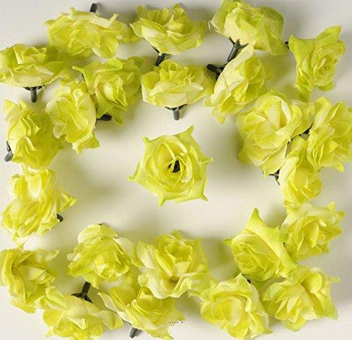 Artif-deco - Tetes de rose artificielle x 12 blanc vert d 5 cm pour boule de rose