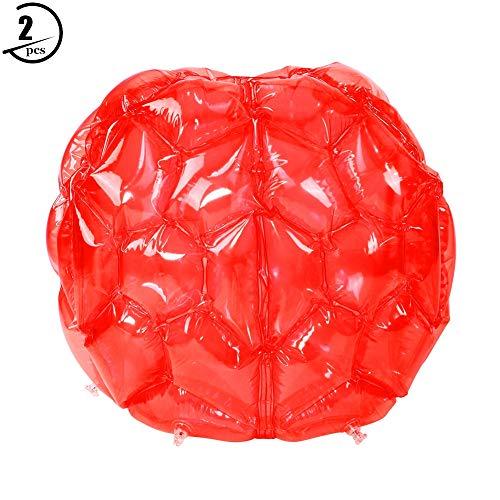 AYNEFY Bubble Balls,Bumper Bälle Aufblasbare Bubble Ball Zorbing Ball PVC Funny Body Zorbing Ball für Kinder PVC Zorb Bumper Fußball Zorbing Kugel Knockerball 65 cm(2pcs)(Rot)